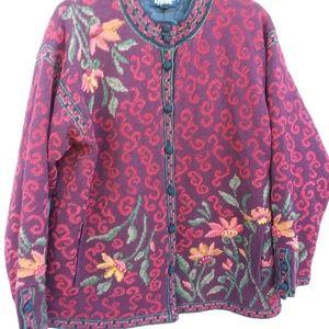 VTG Icelandic cardigan L embroidered burgundy